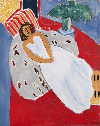 Henri Matisse, Jeune Femme en blanc, fond rouge, 1946